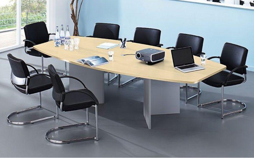 erweiterbarer Konferenztisch mit Ahorn-Tischplatte
