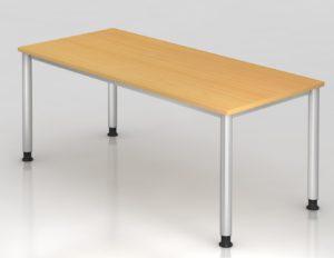 Büroschreibtisch 180 x 80 cm mit robuster Tischplatte in Buche-Holzdekor