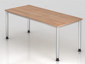 moderner Schreibtisch 180 x 80 cm mit Nussbaum-Tischplatte