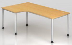 Schreibtisch mit extra großer Arbeitsfläche 200 x 120 cm und 2 Kabeldurchlassdosen