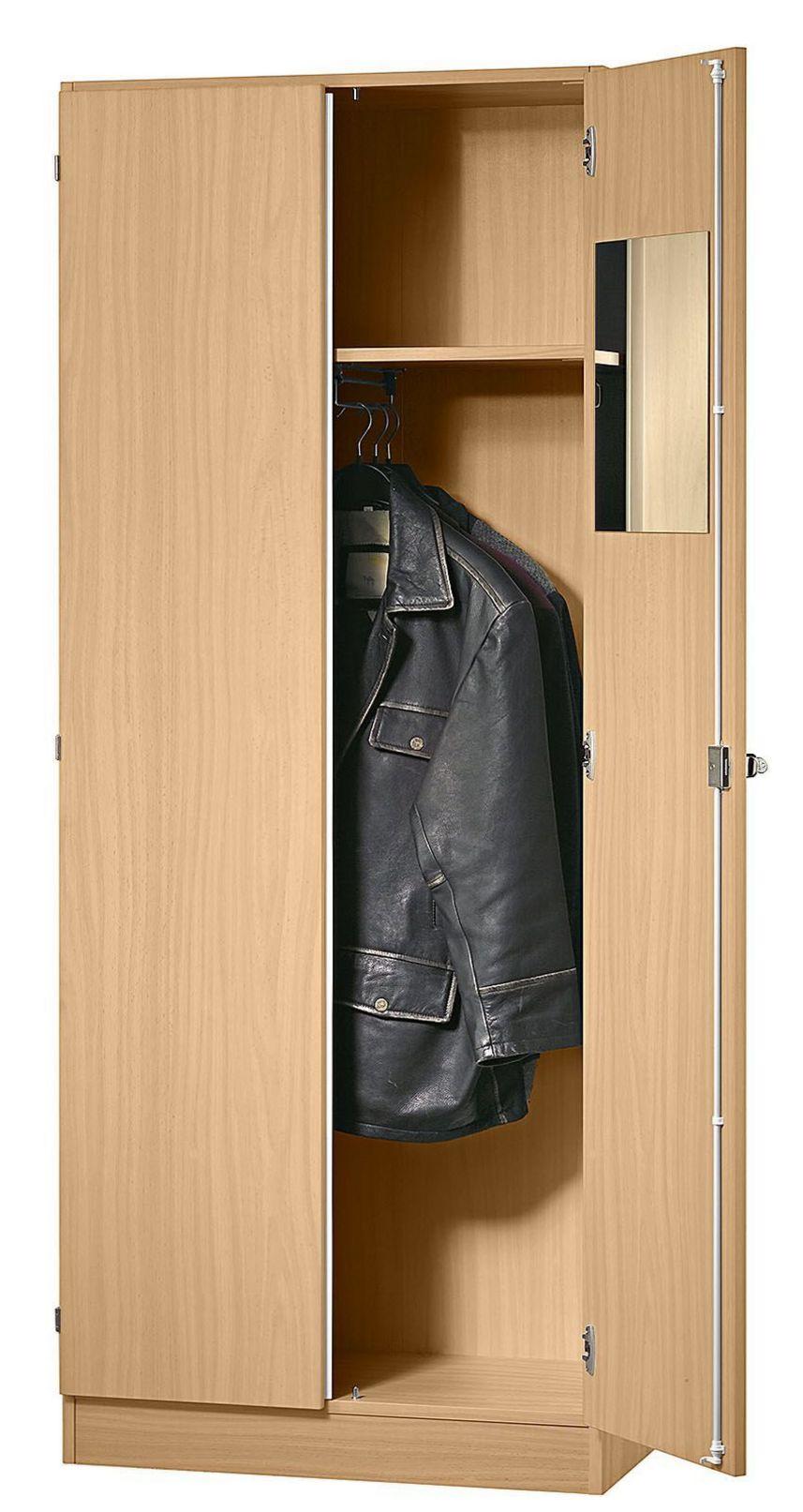 Büro-Garderoben-Holzschrank abschließbar Buche