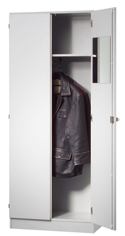 silbergrauer Büro-Garderobenschrank abschließbar