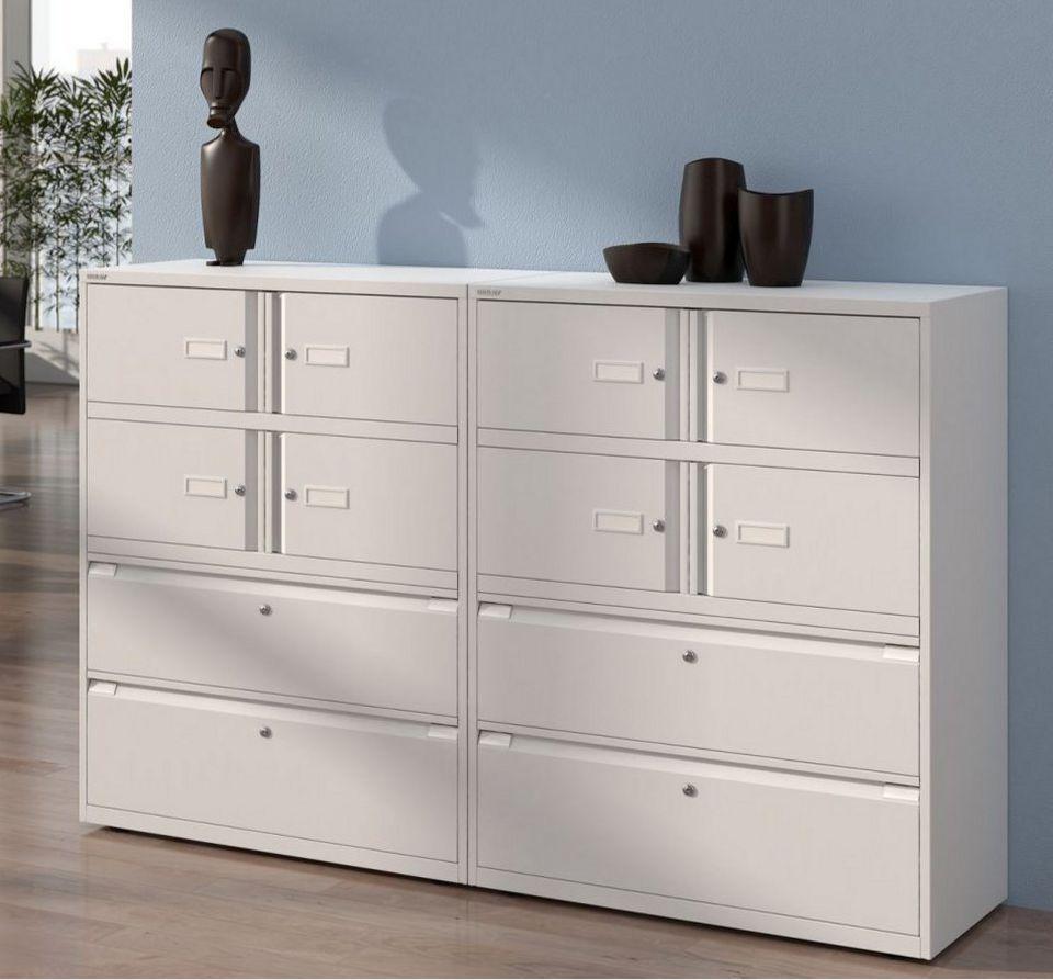 Bürostahlschrank mit zwei Schubladen und zwei Schrankfächer separat abschließbar