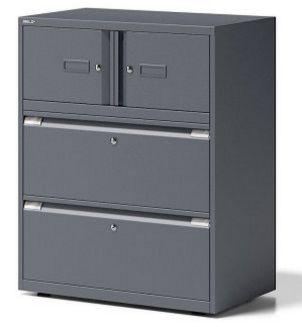 schwarzer Büro-Stahlschrank Schubladen separat abschließbar