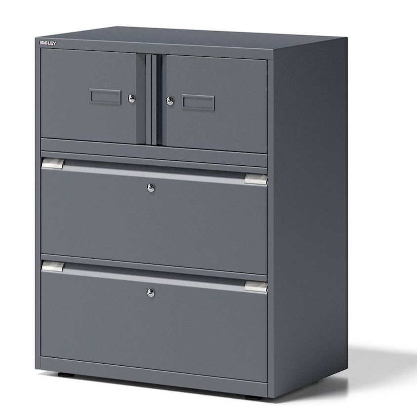 Büro-Stahlschrank 2 separat abschließbaren Schließfächer und separat abschließbare Hängeregister-Schubladen