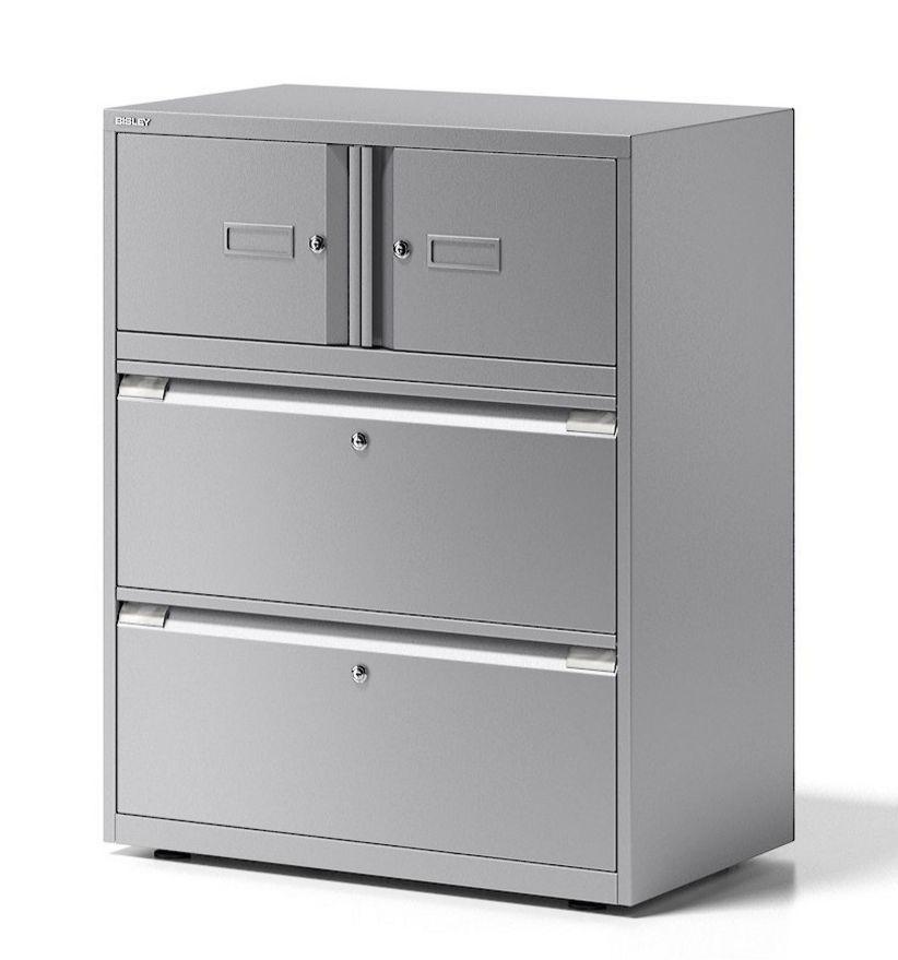 hochwertiger Büroschrank aus Stahl mit 2 Hängeregisterschubladen und 2 Schließfachfächer separat abschließbar