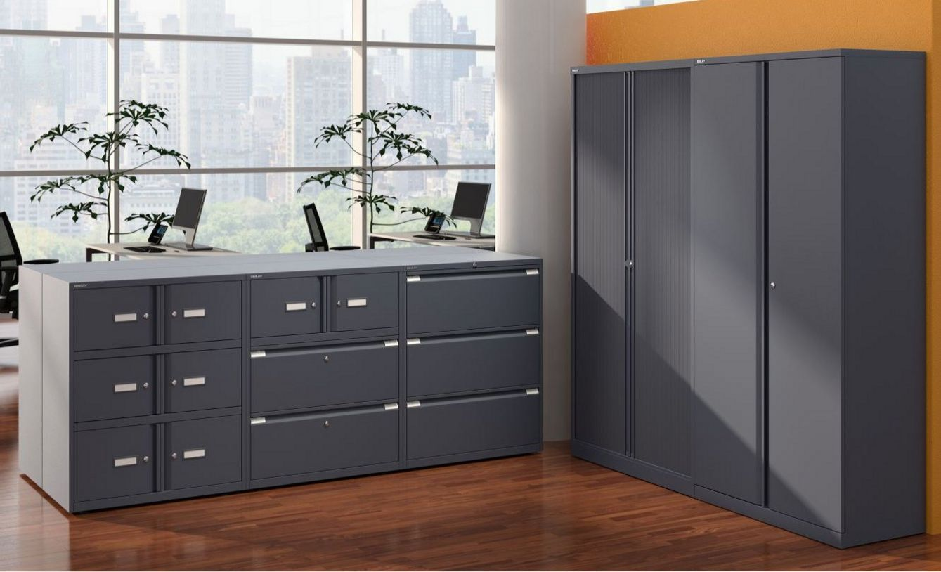 abschließbarer Rollladen-Büroschrank aus Stahl anthrazit
