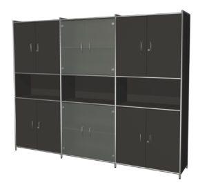 Büro-Schrankwand mit Glastüren und abschließbaren Holztüren