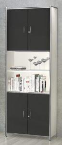 hoher  Büroschrank mit  vier abschließbaren und offene Schrankfächer
