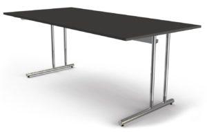 höhenverstellbarer Schreibtisch mit Kabelwanne anthrazitfarbener Tischplatte 200 x 100