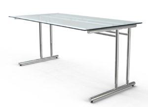 Schreibtisch mit robuster Glasplatte leicht milchig