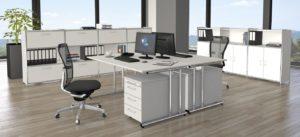 Schreibtisch 160 x 80 cm mit weißer Tischplatte und großer Kabelwanne