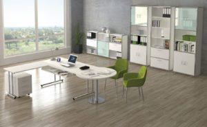 verkettbarer Schreibtisch 160 x 80 cm mit weißen Büroschränken