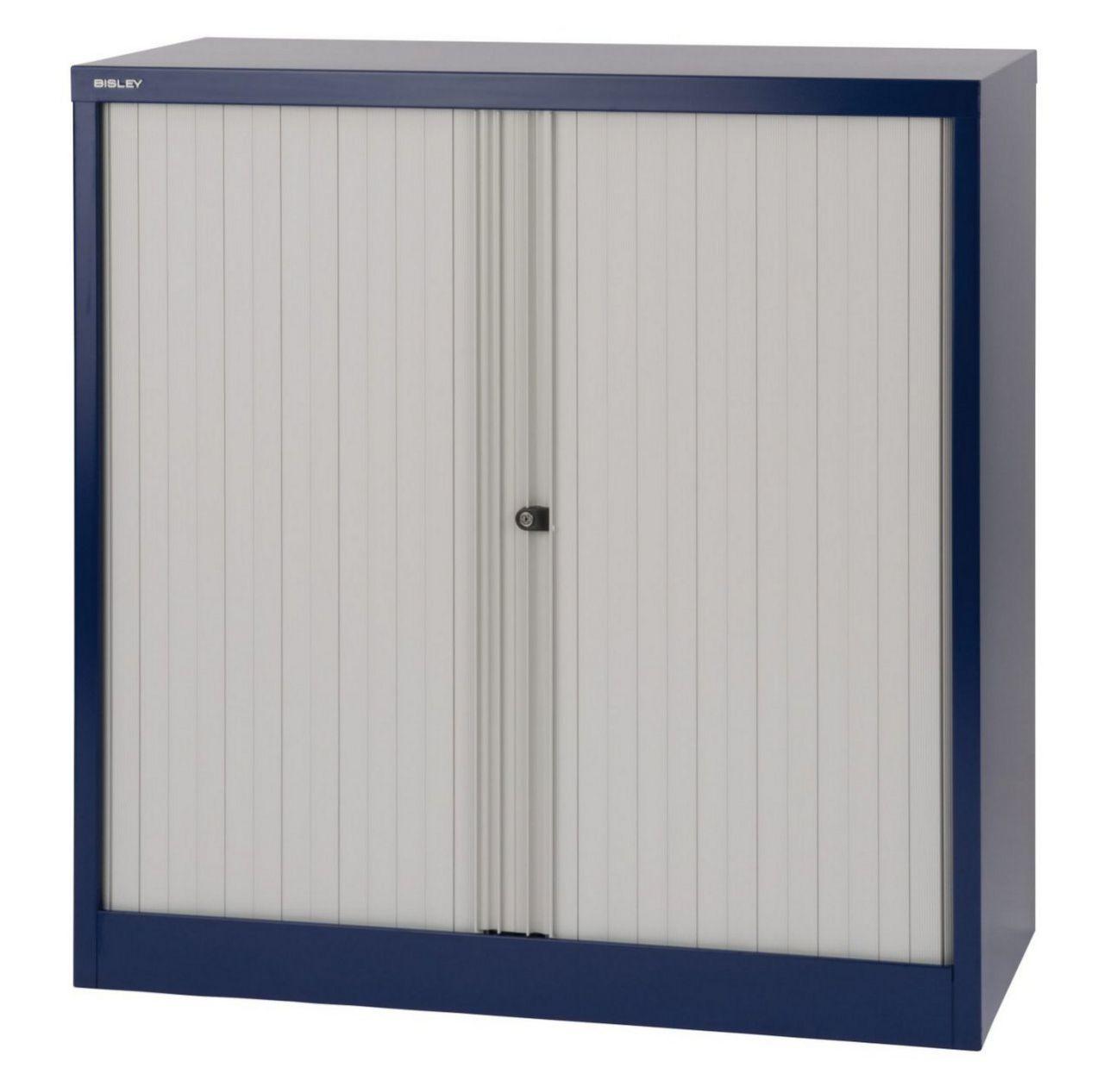 abschließbarer Rollladenbüroschrank Stahl oxfordblau