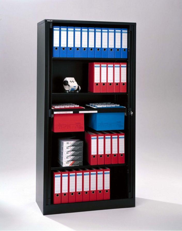 schwarzer Rollladen-Büroschrank abschließbar