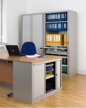 Schreibtisch-Anstellschrank abschließbarer Rollladen