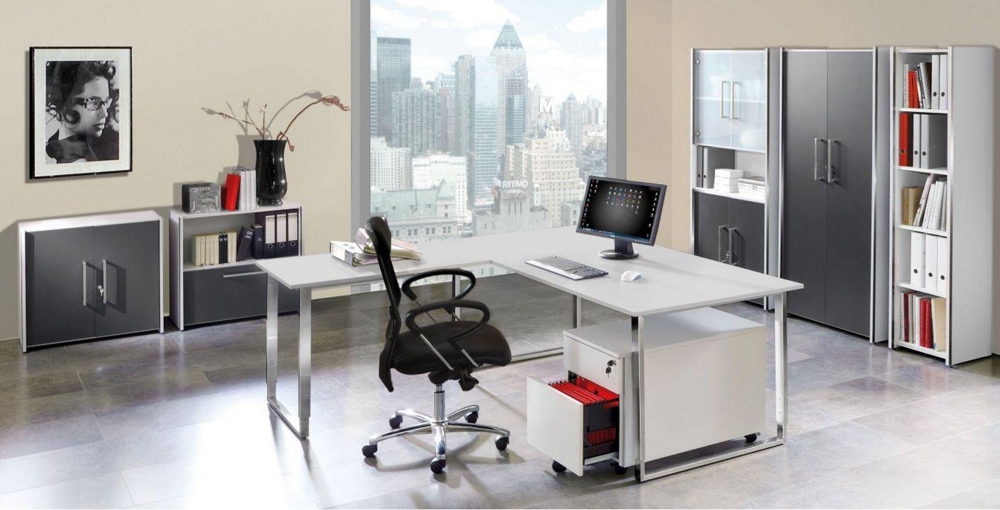 weiße Büroschrank Schranktüren anthrazit