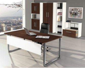 Büromöbel weiß Holzdekor