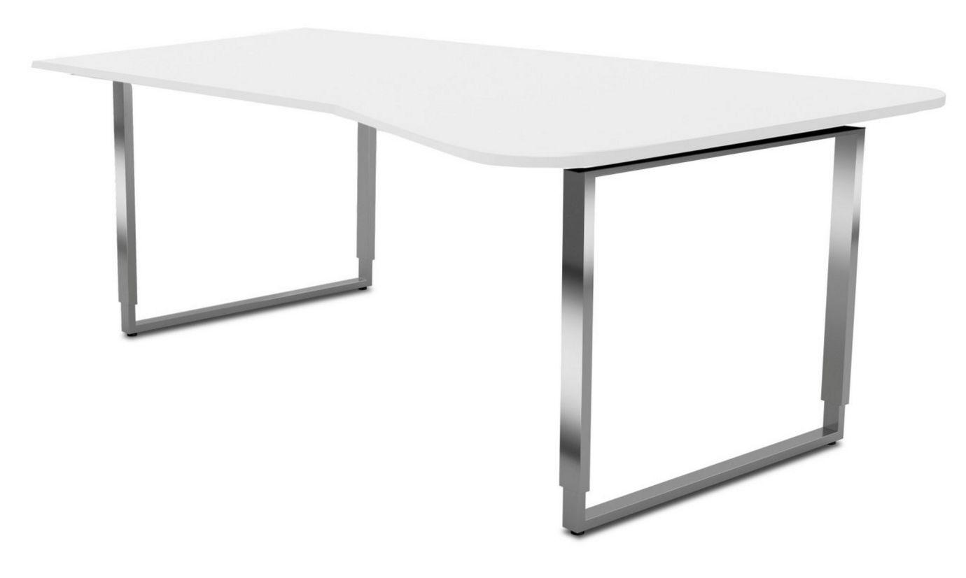 höhenverstellbarer-EDV-Schreibtisch Edelstahl-Holz