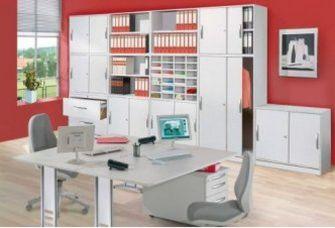 moderne Büroausstattung in Hochglanz weiß