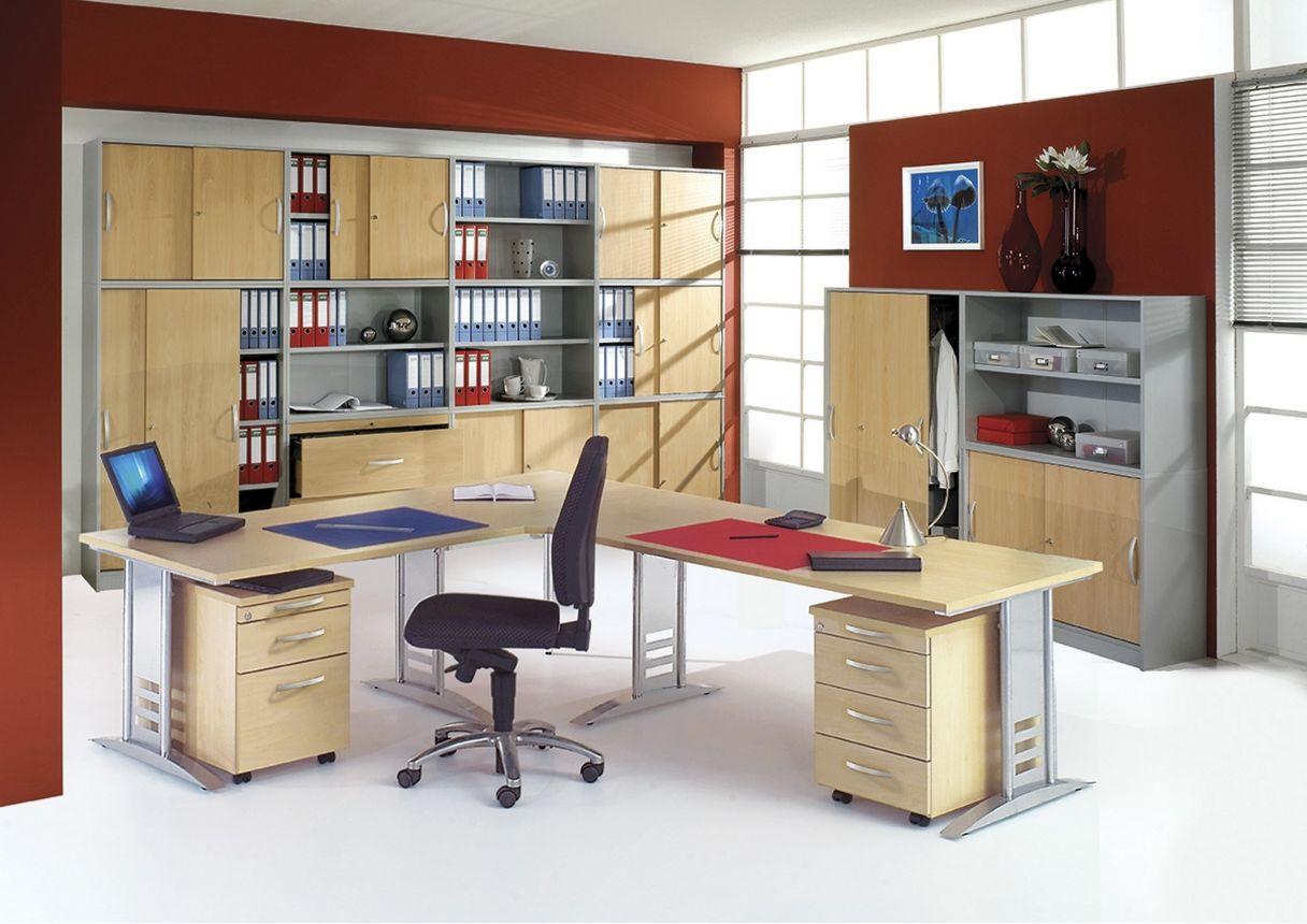 große-Büroschrankwand silber-Buche