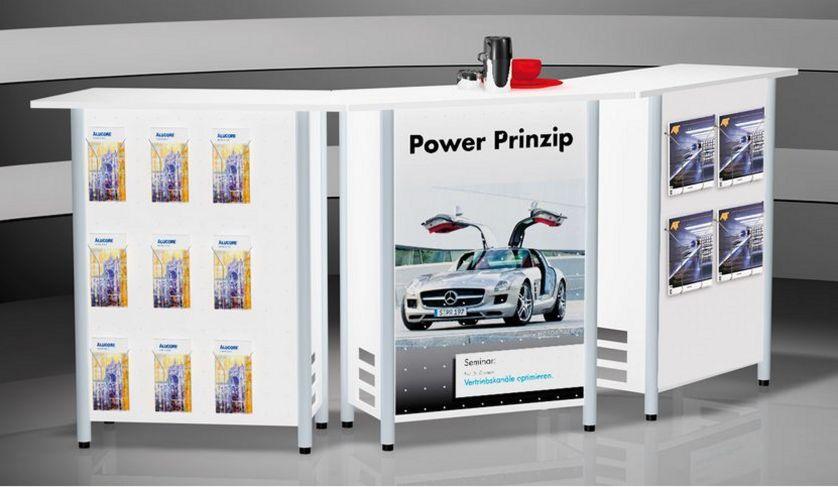 Promotiontheke mit Prospektfächer und Werbeplakat