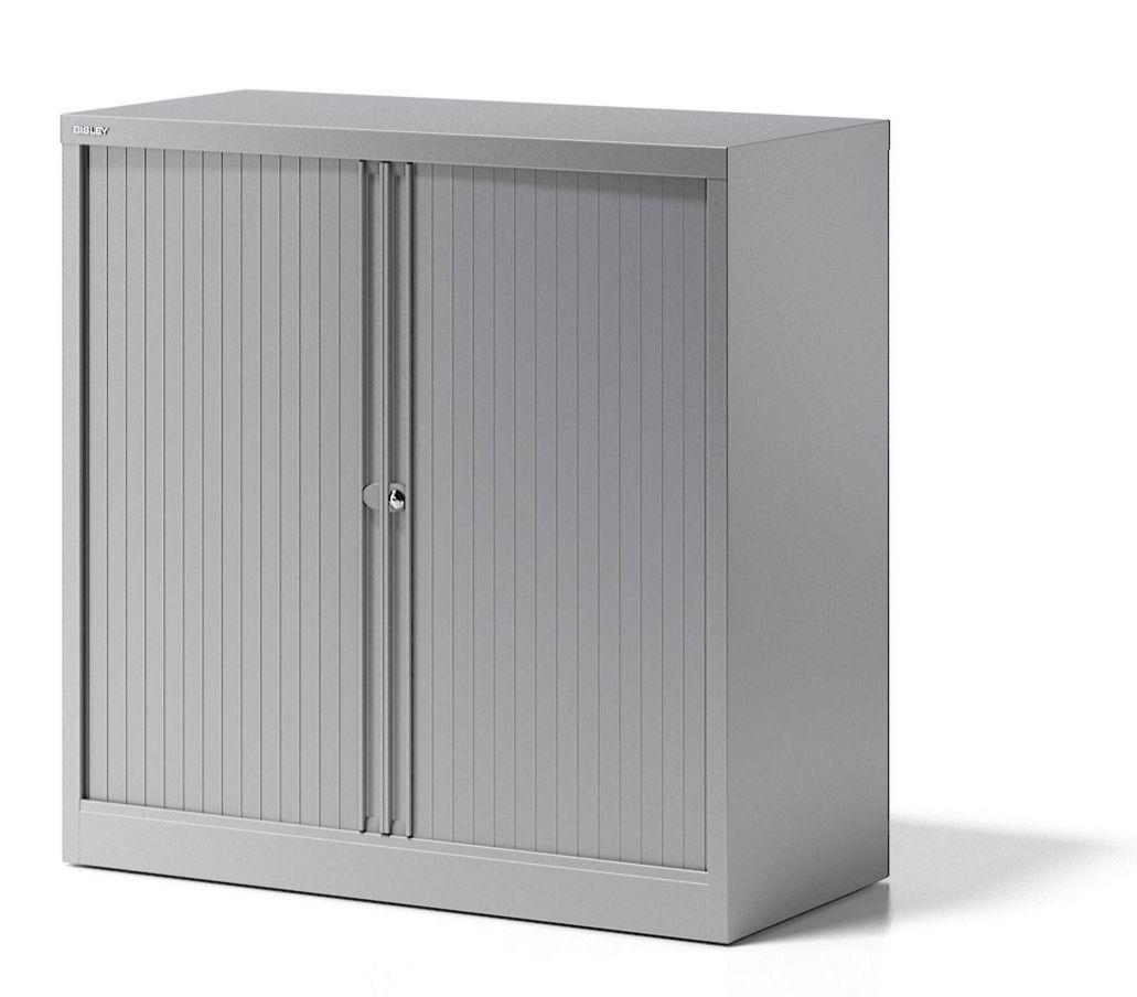 Rollladen-Büroschrank Stahl silber abschließbar