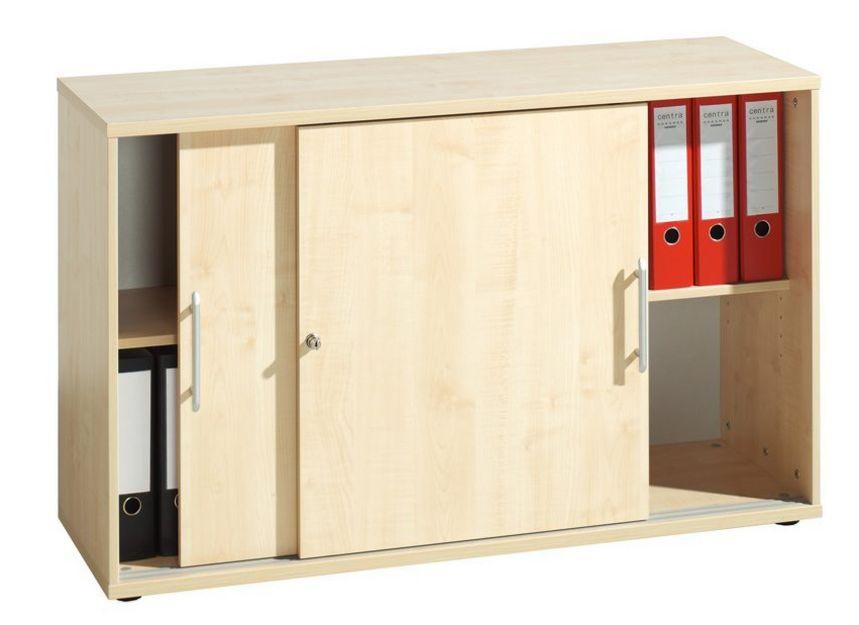 stapelbarer Büro-Schiebetürenschrank Ahorn-Holzdekor