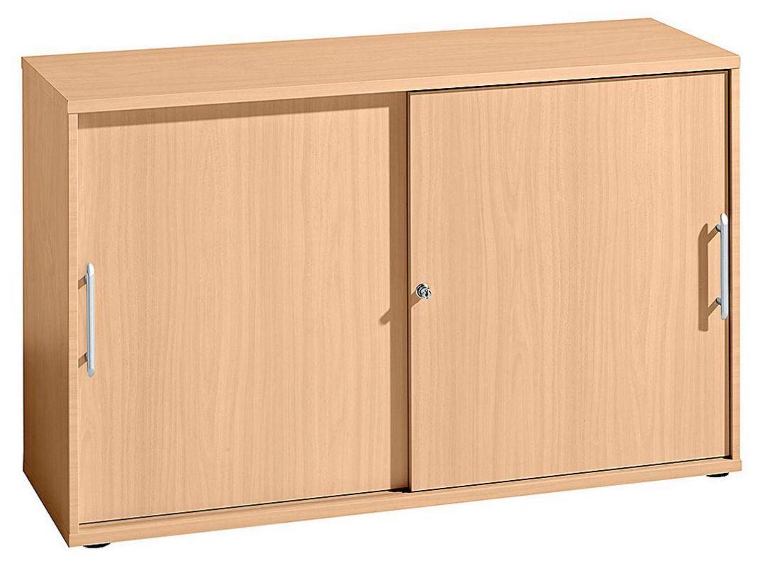abschließbarer Büro-Schiebetürenschrank Buche-Holzdekor