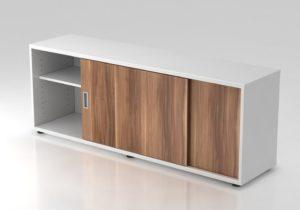 Büroschrank mit Schiebetür als Schreibtischauflage
