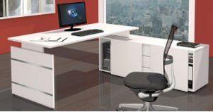 Büroschrank-mit-Auflagenschreibtisch robust und preiswert