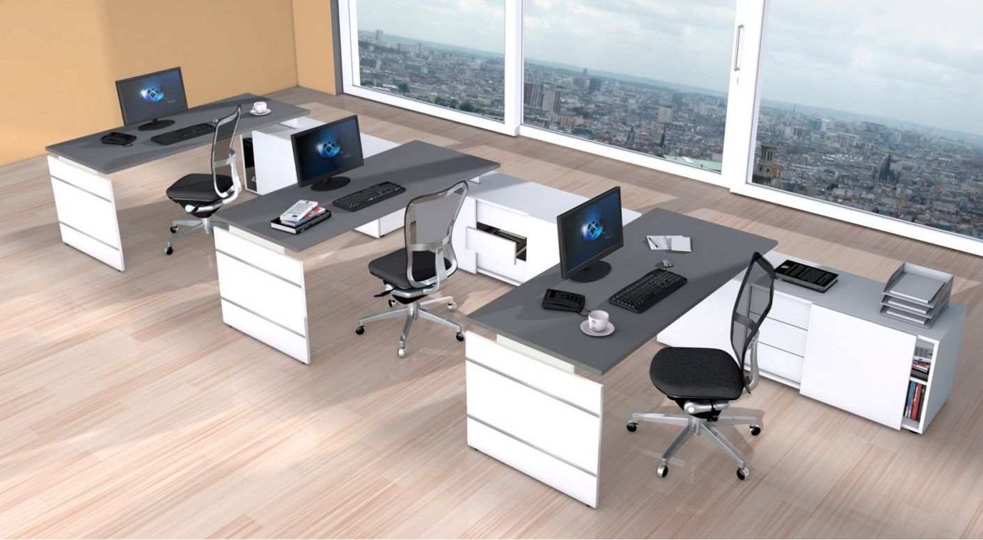 Bürosideboard mit Aufsatzschreibtisch Büro-Teamarbeitsplatz