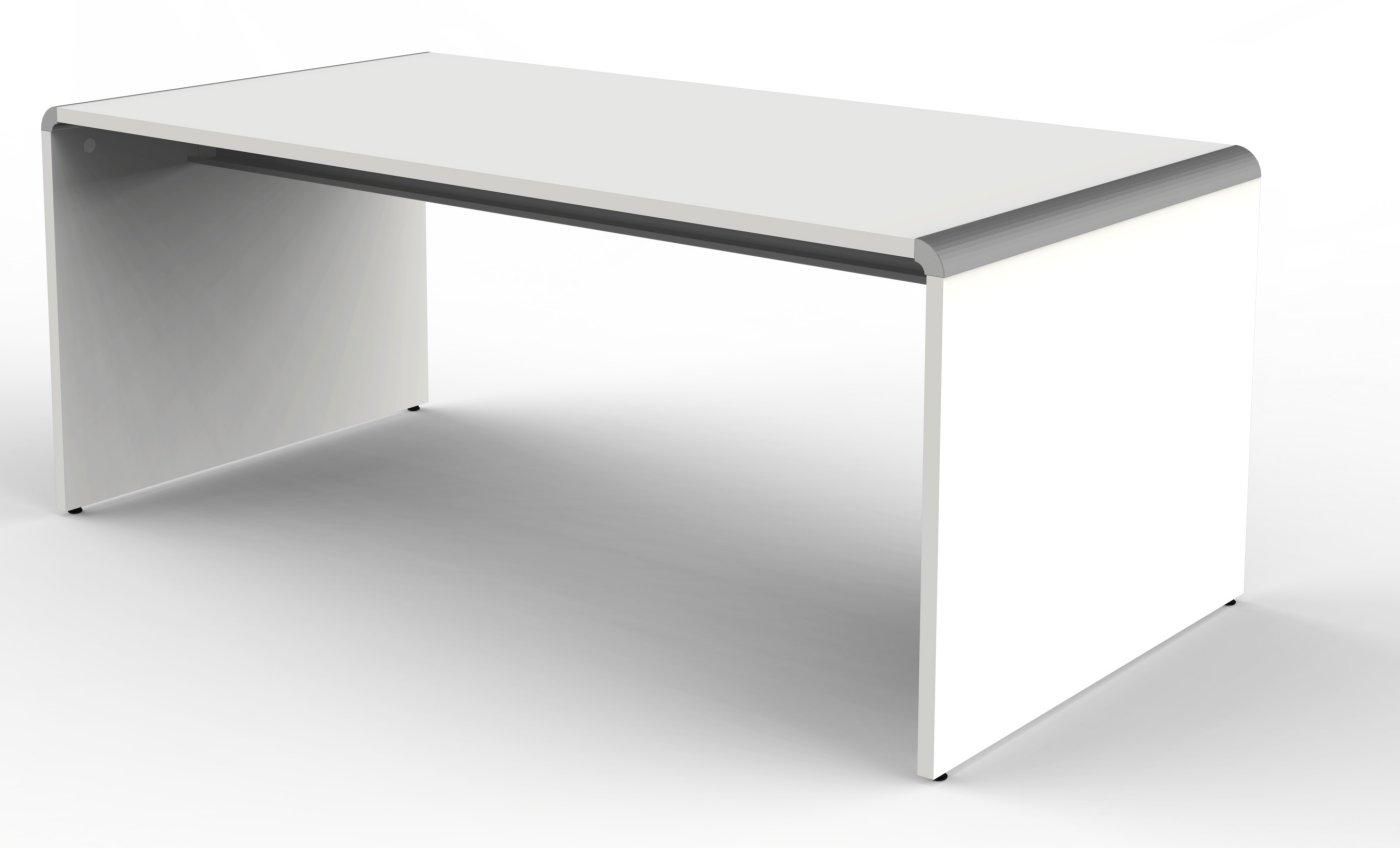 weißer Schreibtisch 180 x 80 cm mit Tischwangen und Kabelkanal