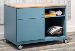 blauer Schreibtisch-Stahlcontainer