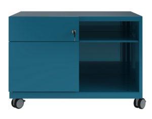 Schreibtisch-Rollcontainer aus Stahl azurefarbe