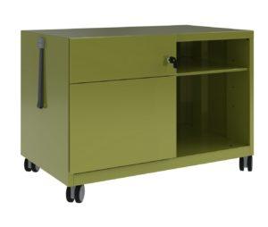 grüner Schreibtischcontainer aus Stahl mit großem Staufach