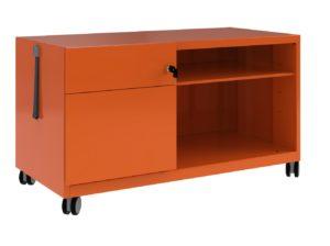 orangener Schreibtisch-Rollcontainer aus Stahl