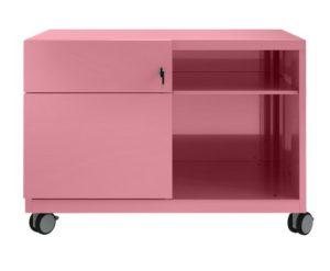 rosafarbener Schreibtisch-Rollcontainer aus Stahl