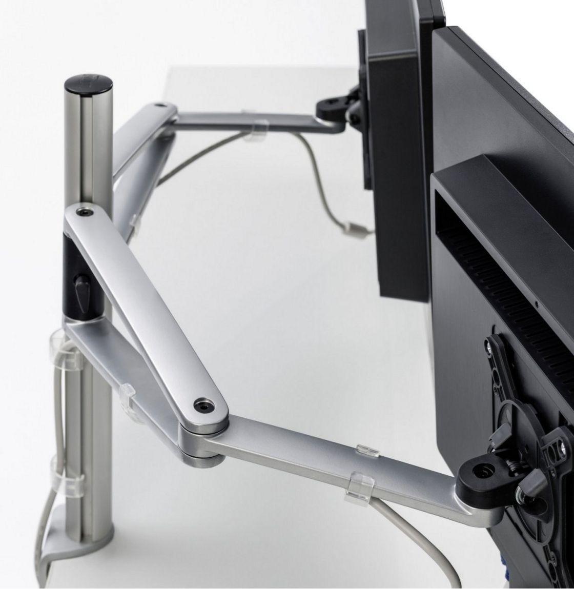 Schwenkarme der zweifachen Monitor-Tischhalterung