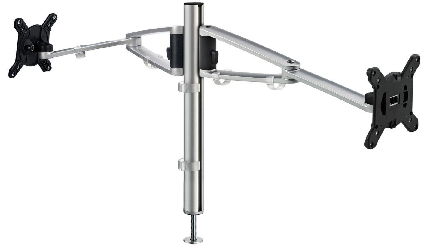 zweifache Monitor-Tischhalterung Befestigung an Kabeldurchlassdose