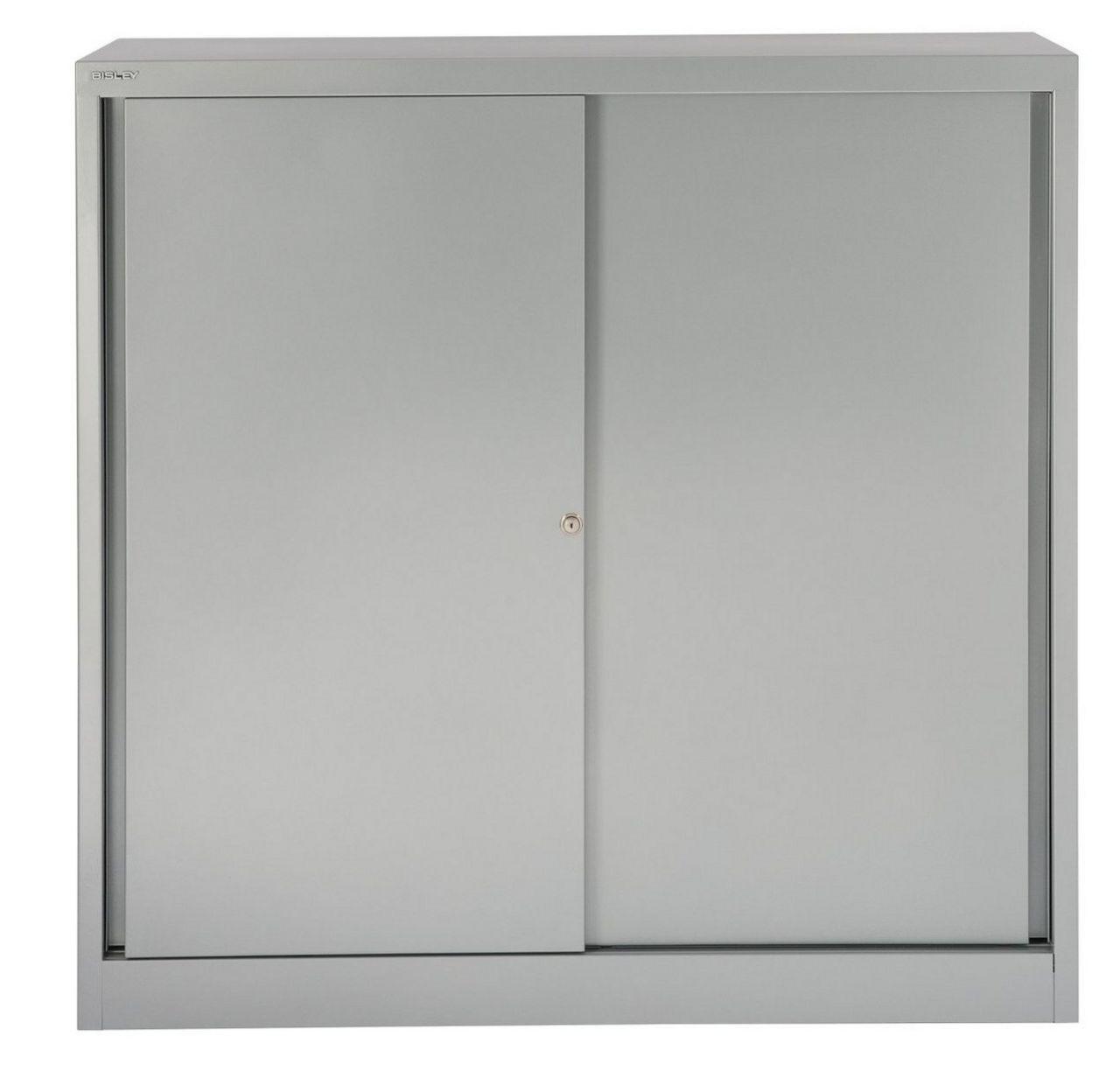 Schiebetüren-Stahlschrank Stahl-Fachböden höhenverstellbar