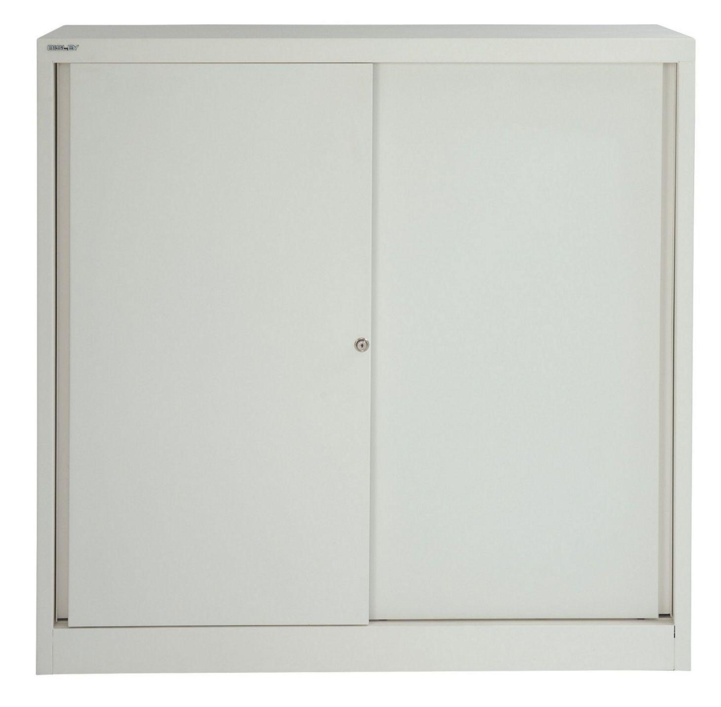 weiß lackierter Schiebetüren-Büroschrank aus Stahl