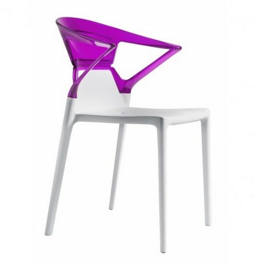 stapelbarer Gartenstuhl weiße Sitzfläche und Rückenlehne transparent violett
