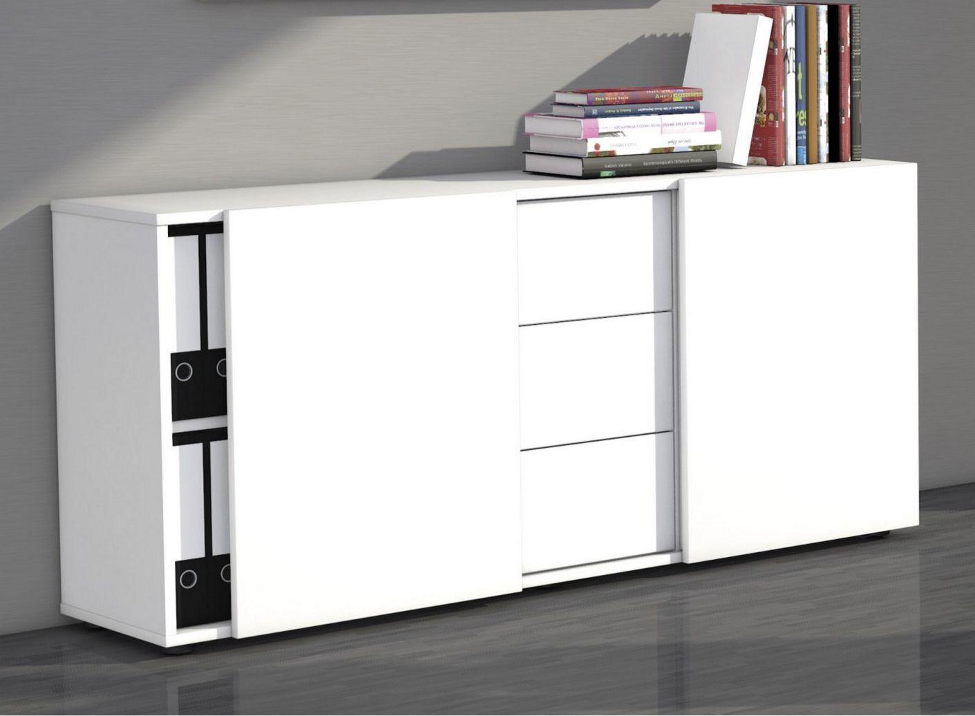 Bürosideboard weiß Schubladen u Schiebetüren