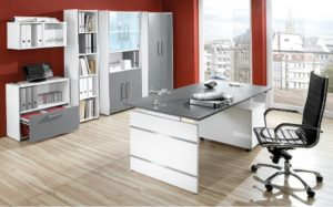 Wangenschreibtisch anthrazitfarbene Tischplatten