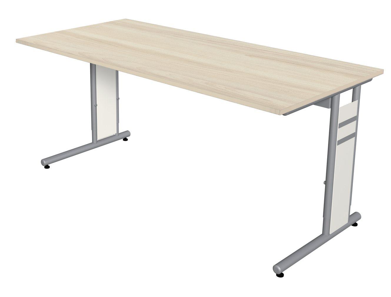 höhenverstellbarer Schreibtisch 160 x 80 cm Tischplatte in Ahorn-Holzdekor