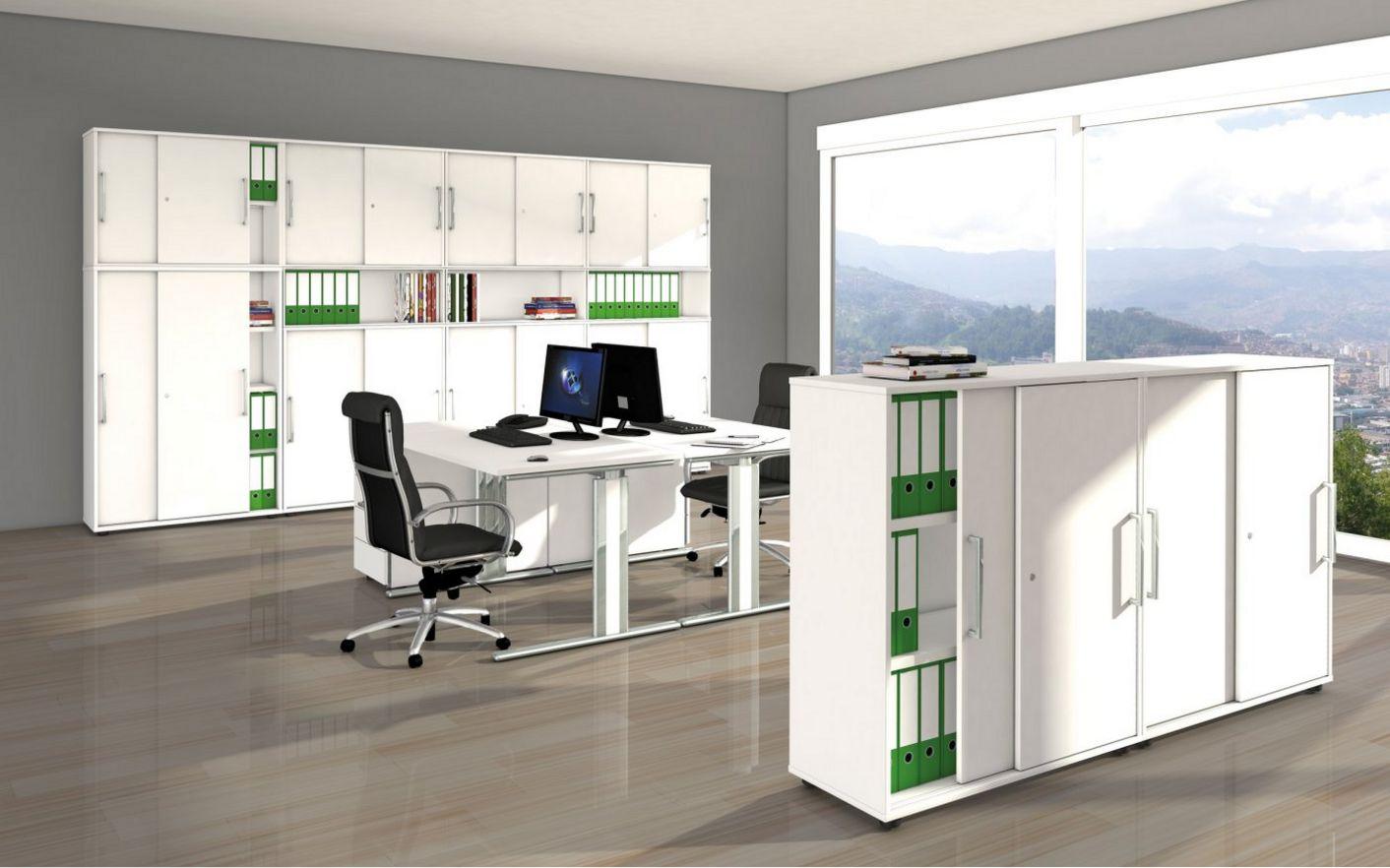 weiße Büroschränke abschließbaren Schiebetüren