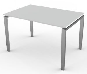 kompakter Büro-Schreibtisch mit lichtgrauer Tischplatte