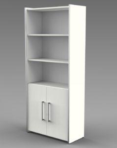 robuster Büroschrank  mit offenen und abschließbaren Schrankfächern