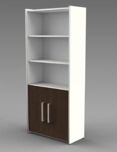 Büroschrank mit 5 Schrankfächer und Türen in Wenge-Holz